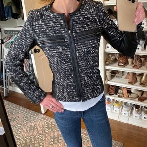 PARKER Leather and tweed jacket XS